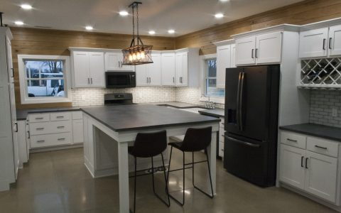 dark gray concrete countertops