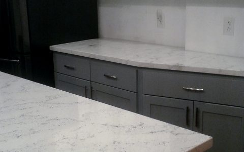 white quartz concrete countertop